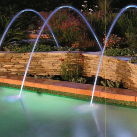 Swimming Pool Features including Water, Fire and Lighting