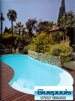 9.5 x 4 metre fibreglass pool in landscaped garden